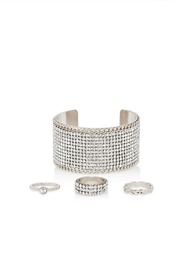 Rhinestone Cuff Bracelet with Rings,SILVER,large