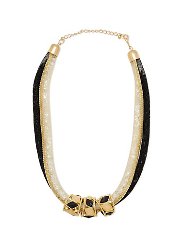Mesh Chain Necklace with Jeweled Ring Pendants,BLACK,large