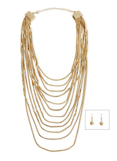 Multi Layered Necklace with Earring Set,GOLD,large