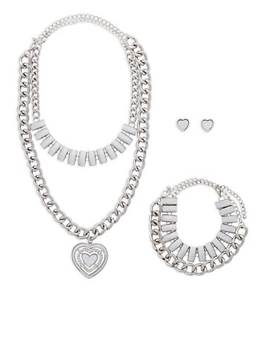 Glitter Heart Chain Necklace with Bracelet and Earrings,SILVER,large