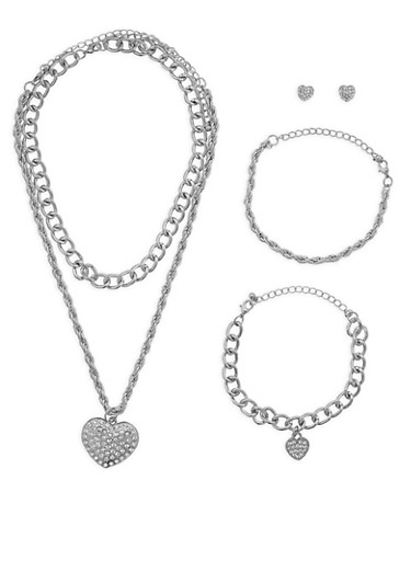 Rhinestone Heart Pendant Necklaces with Bracelets and Stud Earrings,SILVER,large