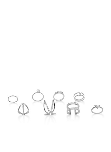 Set of 9 Assorted Metallic Rings,SILVER,large