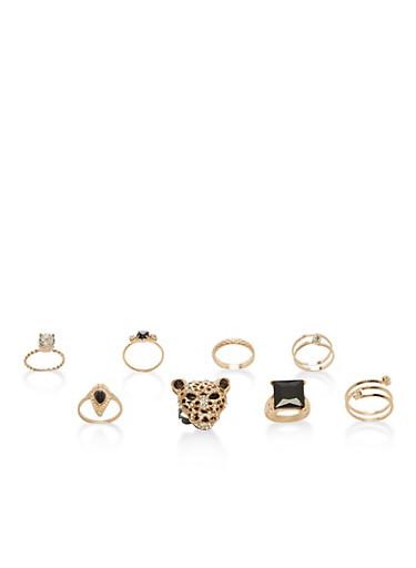 Set of 9 Jaguar and Metallic Rings,GOLD,large