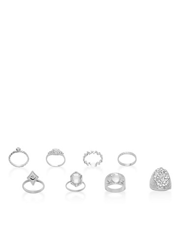 Set of 8 Assorted Metallic Rings,SILVER,large