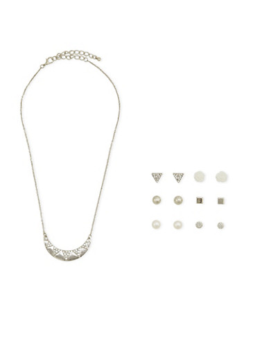 Assorted Stud Earrings and Crescent Necklace Set,SILVER,large