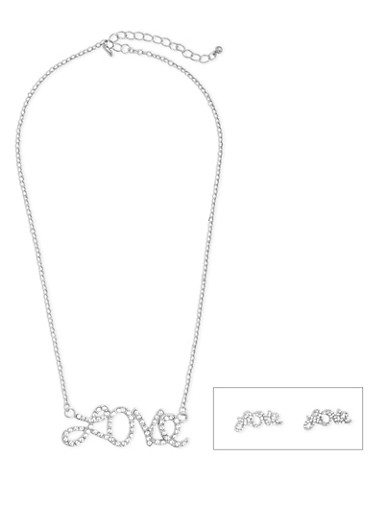 Love Stud Earrings and Necklace Set,SILVER,large