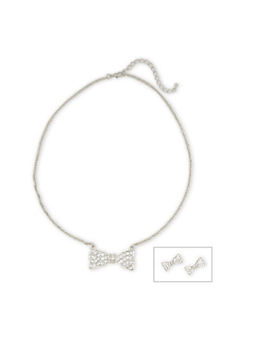 Crystal Bow Necklace and Crystal Bow Earrings Set,SILVER,large