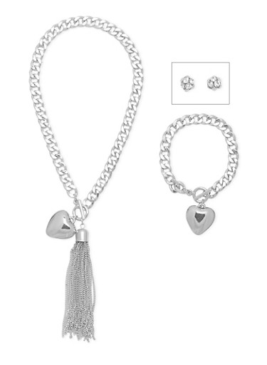 Necklace with Bracelet and Earrings Set,SILVER,large
