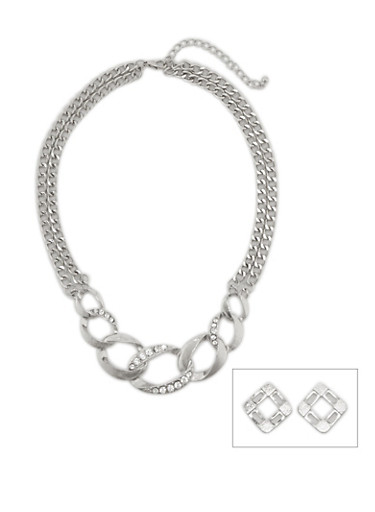 Collar Neckace with Chain Link Pendant and Earrings Set,SILVER,large