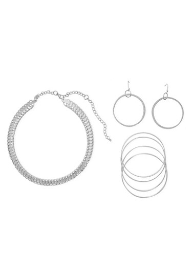 Multi Ring Collar Necklace with Bracelets and Earrings,SILVER,large