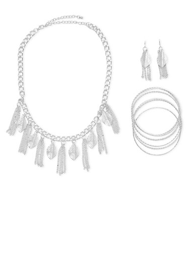 Necklace with Earrings and 6 Bangles,SILVER,large