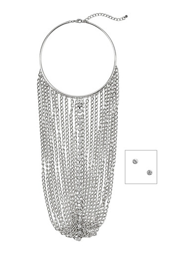 Chain Fringe Choker Necklace with Crystal Stud Earrings Set,SILVER,large