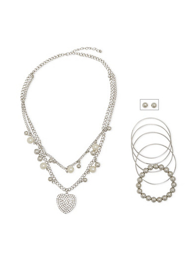 Necklace with Stud Earrings and 5 Bracelets Set,SILVER,large