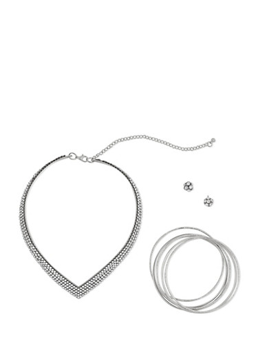Choker Bangles and Stud Earrings Set with Rhinestones,SILVER,large