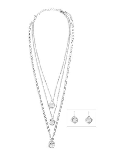 Caged Rhinestone Charm Necklace and Earrings,SILVER,large