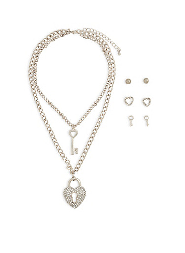 Heart and Key Necklace and Stud Earrings Trio,SILVER,large