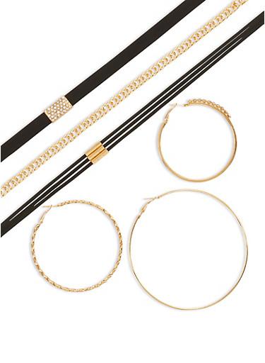 Trio of Rhinestone Hoop Earrings and Chokers,BLACK,large