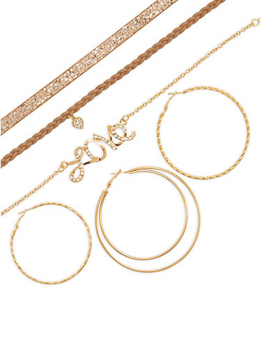 Trio of Hoop Earrings and Choker Necklaces,GOLD,large