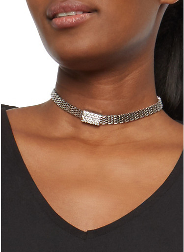 Multi Layer Pendant Necklace and Choker with Stud Earrings,SILVER,large