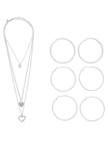Heart Choker Layered Necklace with Hoop Earrings,SILVER,large