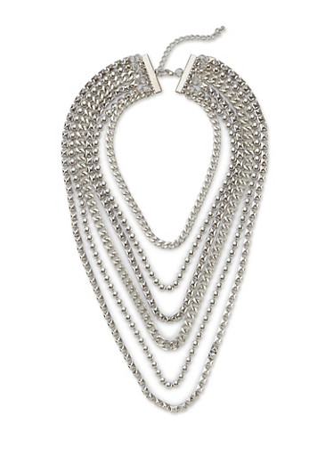Layered Chain Necklace,SILVER,large