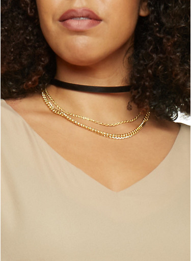 Faux Leather Choker with Curb Chains,BLACK,large