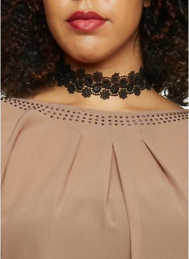 Crochet Choker Necklace,BLACK,large