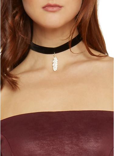 Velvet Choker with Rhinestone Feather Pendant,BLACK,large