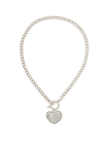Rhinestone Heart Toggle Chain Necklace,SILVER,large