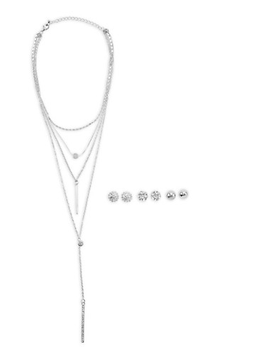 Layered Rhinestone Stick Pendant Necklaces and Stud Earrings,SILVER,large