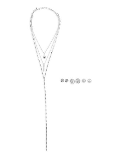 Rhinestone Y and Pendant Necklaces with 3 Stud Earrings,SILVER,large