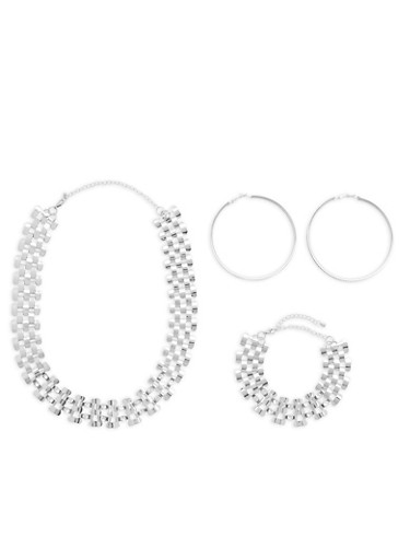 Linked Chain Necklace and Bracelet with Rhinestone Hoop Earrings,SILVER,large