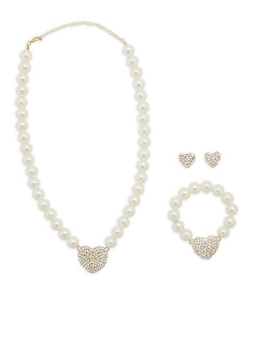 Heart Pendant Faux Pearl Necklace with Bracelet and Earrings,GOLD,large