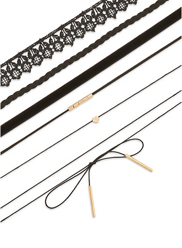 Set of 6 Chokers,BLACK,large