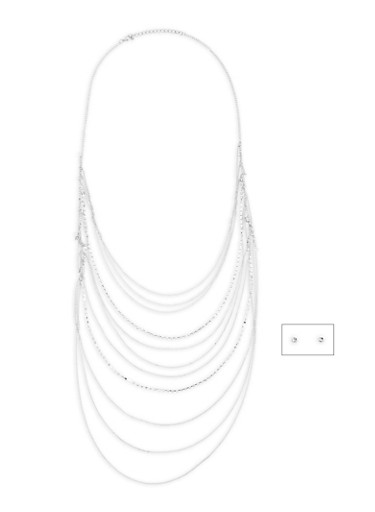 Long Rhinestone and Chain Necklace,SILVER,large