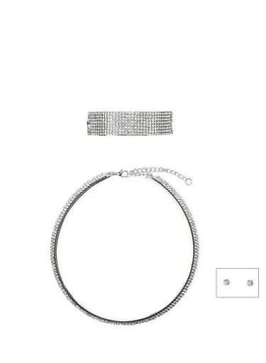 Crystal Collar Necklace with Cuff Bracelet and Stud Earrings Set,SILVER,large