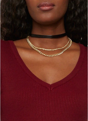 Faux Leather Choker Necklace with Chains,BLACK,large