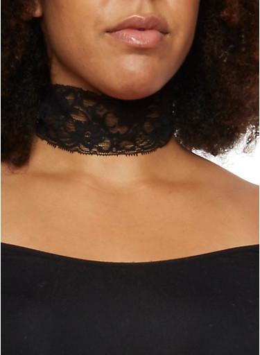 Plus Size Lace Choker Necklace,BLACK,large
