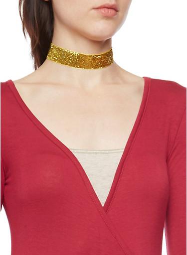 Set of 3 Assorted Velvet Choker Necklaces,TRITONE (SLVR/GLD/HEMAT),large