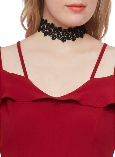 Lace Choker Necklace,BLACK,large