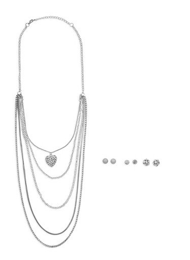 Layered Chain Pendant Necklace with 3 Stud Earrings,SILVER,large