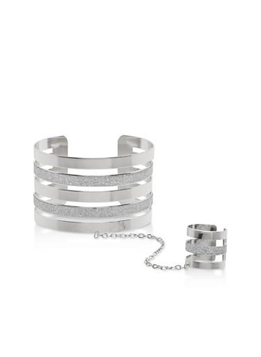 Glitter Metallic Ring Hand Chain Bracelet,SILVER,large