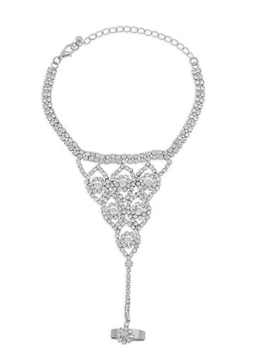 Rhinestone Ring Hand Chain Bracelet,SILVER,large