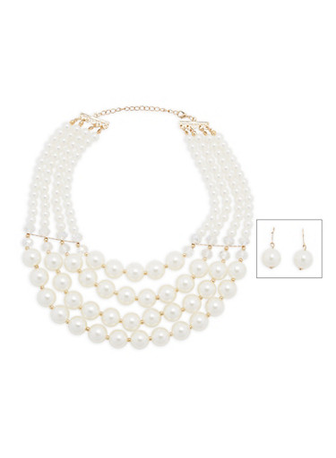 Tiered Faux Pearl Necklace and Earrings,IVORY,large