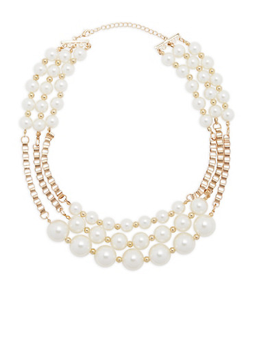 Tiered Chain and Faux Pearl Necklace,IVORY,large