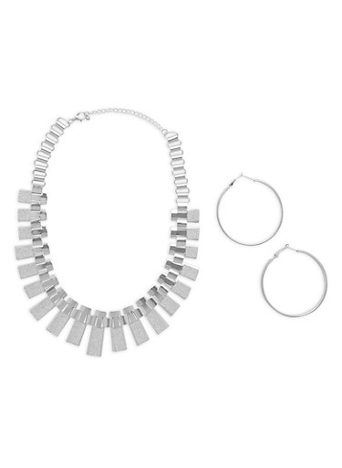 Metallic Glitter Necklace with Hoop Earrings,SILVER,large