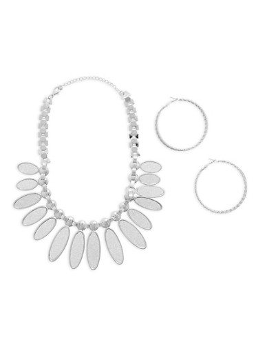 Glitter Leaf Necklace with Textured Hoop Earrings,SILVER,large