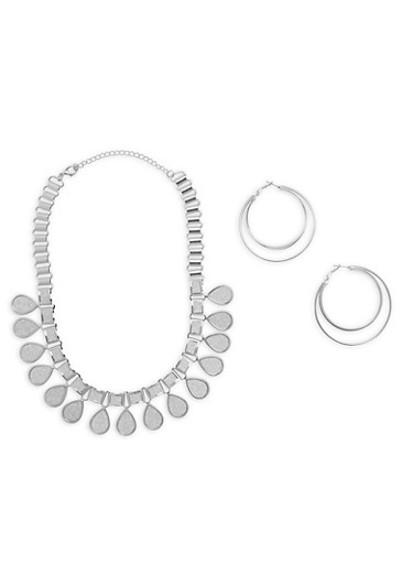 Glitter Tear Drop Necklace with Layered Hoop Earrings,SILVER,large