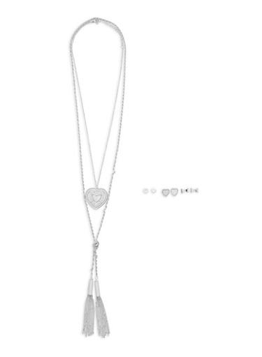 Tassel and Heart Pendant Necklaces with Set of 3 Stud Earrings,SILVER,large