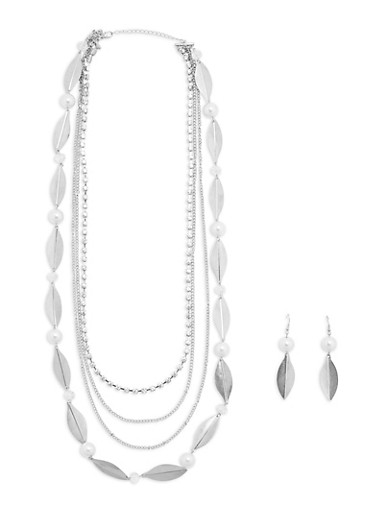 Multi Layered Necklace and Matching Earrings,SILVER,large